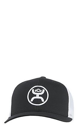 HOOey Men's Black with White Logo & Mesh Back Cap