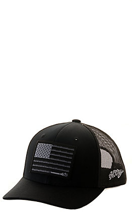 HOOey Kids' Black Liberty Roper Flag Cap