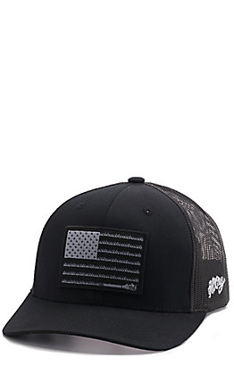 HOOey Men's Black Liberty Roper Flag Cap