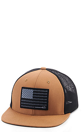 Hooey Tan and Black Liberty Roper American Flag Patch Cap