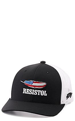Hooey Black Resistol Flag Feather Snapback Cap