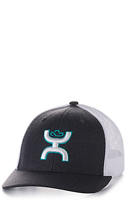 Hooey Sterling Charcoal Grey and White with Turquoise and White Logo Mesh Cap
