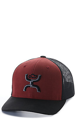 Hooey Sterling Maroon and Black Mesh with Black and Grey Logo Cap
