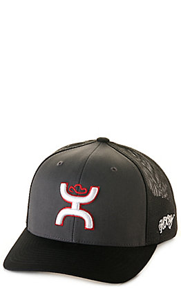 Hooey Black and Charcoal with Red and White Logo Mesh Back Cap