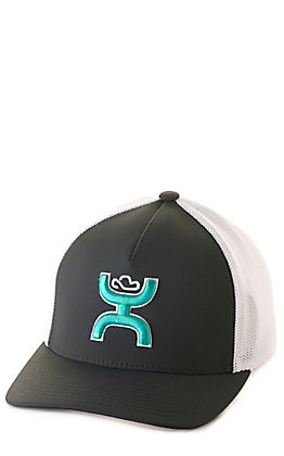 Hooey Grey and White with a Turquoise Coach Logo Flexfit Cap