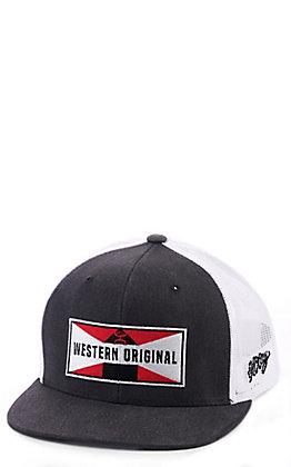 Hooey Grey and White Western Original Snapback Cap