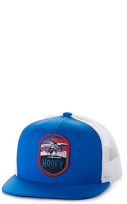Hooey Youth Cheyenne Blue and White Mesh with Patch Trucker Cap