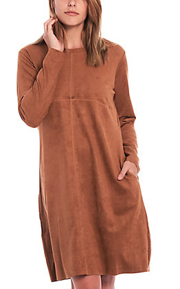 Ethyl Women's Suede Baltimore Kinsley Long Sleeve Dress