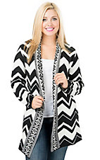 Ethyl Women's Black & White Chevron Long Sleeve Sweater Cardigan