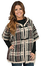 Ethyl Women's Tan, Maroon & Black Plaid Hooded Cape Sweater