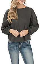 Umgee Women's Charcoal with Floral Puff Sleeves Knit Fashion Top