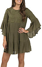 Umgee Women's Olive Bell Sleeve Solid Dress