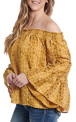 UMGEE Women's Mustard Off the Shoulder Bell Sleeve Fashion Top