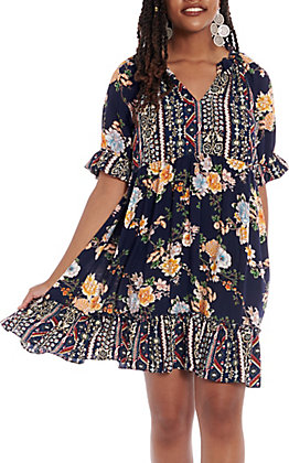 UMGEE Women's Navy Floral Ruffle Short sleeve Dress