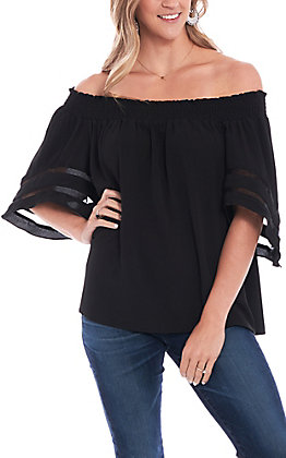Umgee Women's Black Off The Shoulder Fashion Top