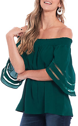 Umgee Women's Forest Green Off The Shoulder Fashion Top
