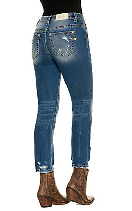 Miss Me Women's Medium Wash High Rise Straight Leg Jeans