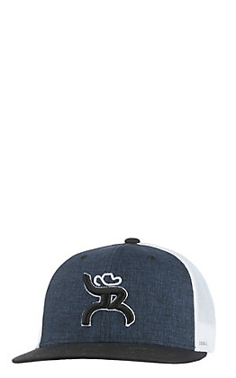 HOOey Navy and White Roughy Maverick Snap Back Cap