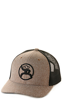Hooey Tan and Black with Black Roughy Logo Snapback Cap