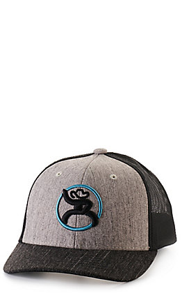 Hooey Youth Grey and Black with Turquoise and Black Embroidered Roughy Snapback Cap