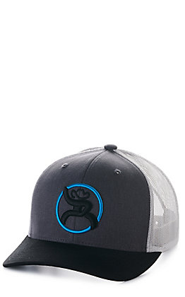 Hooey Charcoal Grey and White Strap Roughy Snapback Cap
