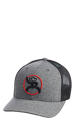 HOOey Men's Heather Grey and Black Roughy  Logo Snapback Cap