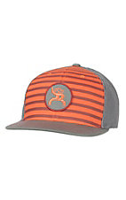 HOOey Orange & Burgundy Stripe with Roughy Patch Logo Mesh Back Cap