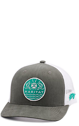 HOOey Men's Grey and White Habitat Snapback Cap