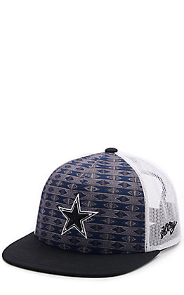 HOOey Navy Aztec Print & White Dallas Cowboys Star Patch Snapback Cap