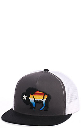 HOOey Grey & White Buffalo Bison Snapback Cap