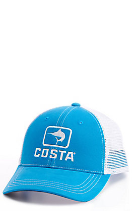 Costa Marlin Trucker Blue and White Cap