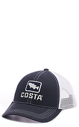 Costa Bass Trucker Black and White Cap