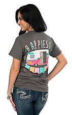 Girlie Girl Originals Women's Charcoal Happiest Camper Screen Print Short Sleeve T-Shirt