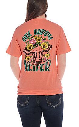 Girlie Girl Originals Women's Coral One Happy Heifer Short Sleeve T-Shirt