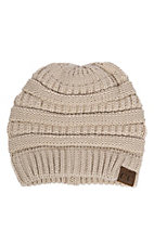 C.C. Beanies Women's Beige Ribbed Knit Beanie
