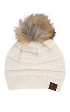 C.C. Beanies Women's Faux Fur Ivory Ribbed Knit Beanie