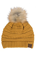 C.C. Beanies Women's Faux Fur Mustard Ribbed Knit Beanie