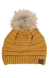 04b45bb002504 C.C. Beanies Women s Faux Fur Mustard Ribbed Knit Beanie