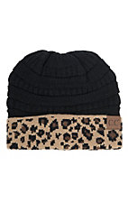 C.C. Beanies Black with Leopard Print Knit Beanie Hat