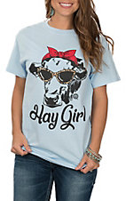 Women's Light Blue Hay Girl Steer Graphic S/S T-Shirt