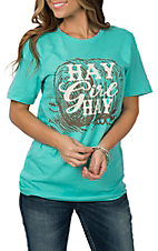 Crazy Train Women's Aqua Hay Girl Hay Short Sleeve T-Shirt