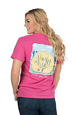 Girlie Girl Originals Women's Hot Pink Hay Y'all Screen Print Short Sleeve T-Shirt