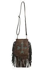 3D Belt Company Brown with Turquoise Studded Arrows Rectangle with Fringe Crossbody Purse