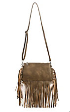 3D Belt Company Brown Rectangle with Fringe Crossbody Purse