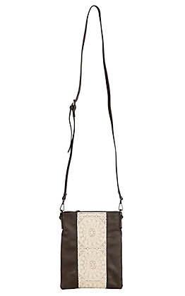 3-D Belt Company Women's Brown and Tan Lace Crossbody