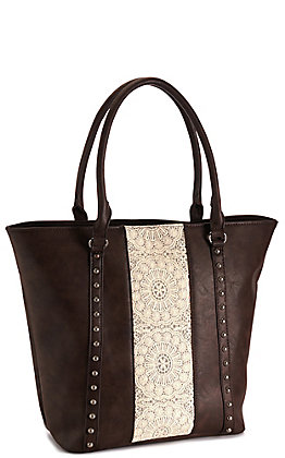 Angel Ranch Brown with Tan Lace and Antique Studs Concealed Carry Purse