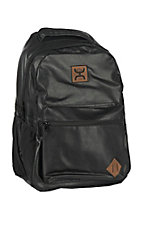 HOOey Classic Black Leather Print Backpack