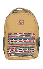 Hooey Recess Tan with Aztec Print Front Pocket Backpack