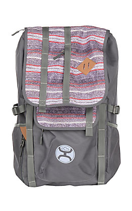 Hooey Topper Grey with Purple Aztec Flap Backpack with Hat Strap