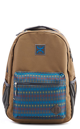 HOOey Recess Tan and Blue Azteck Backpack